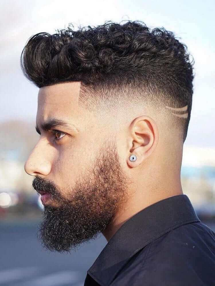 Curly Hair with Line Up