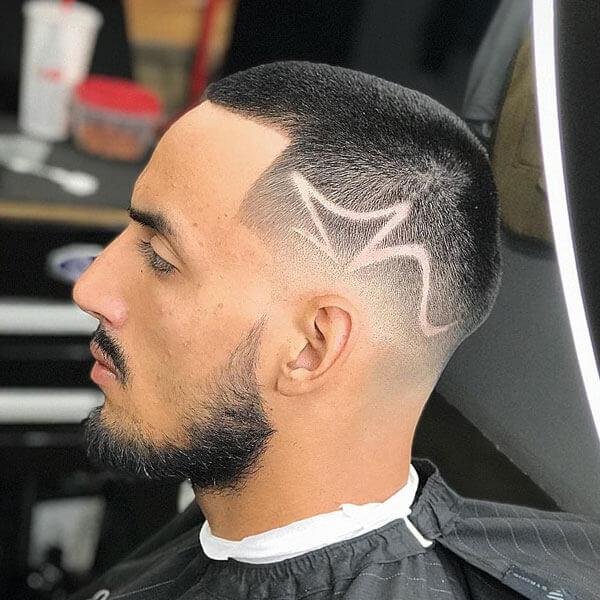 Buzz Cut + Line Up + Low Bald Fade