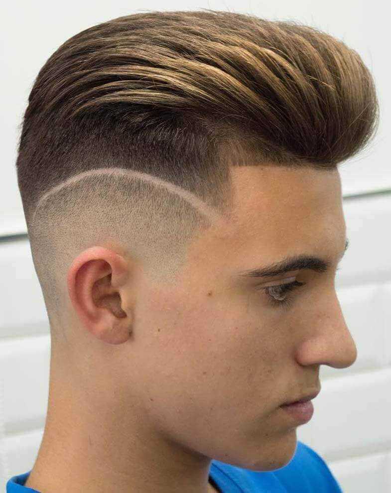 Line up and Disconnected Fade with a Pompadour-5