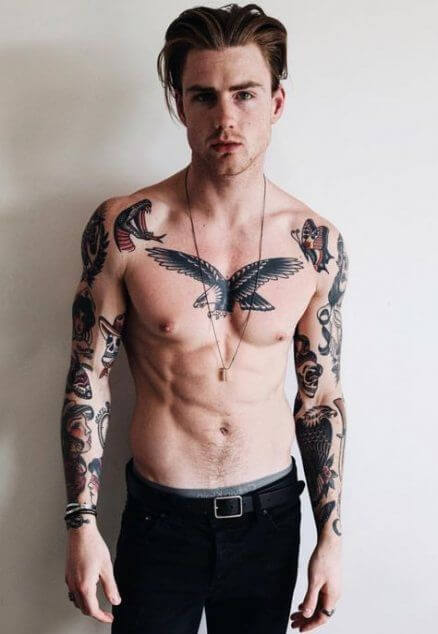 simple chest tattoos for guys-27