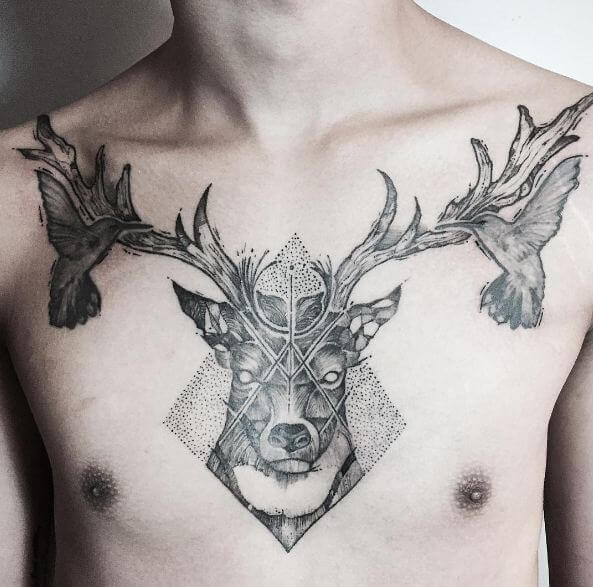 deer tattoo on chest-45