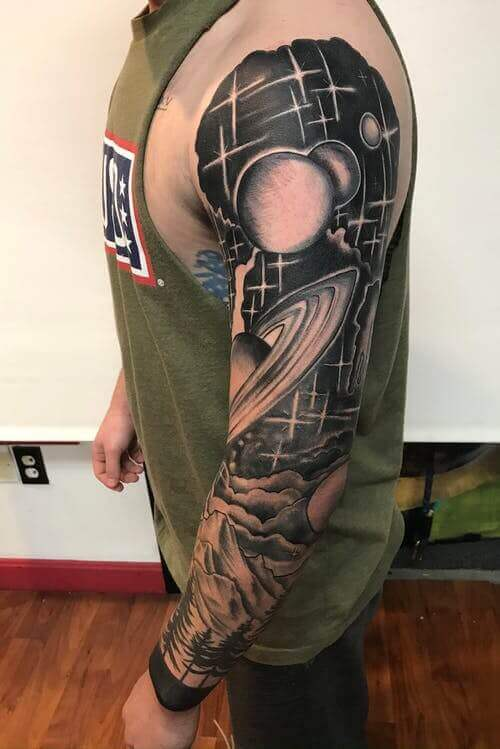Space and stars tattoo
