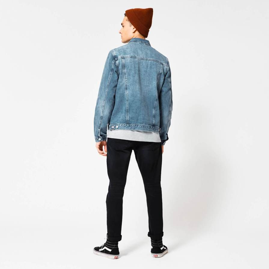 denim jacket with a standup collar men
