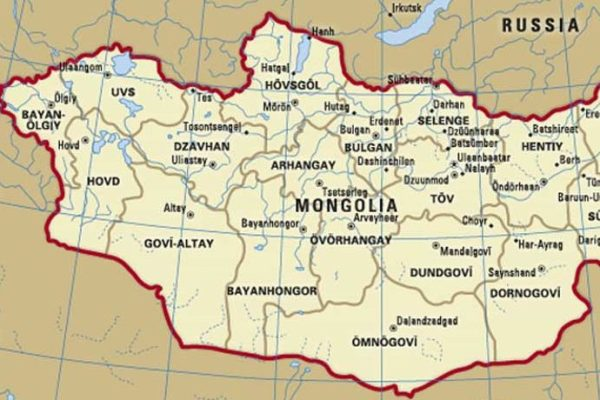 Map of western Mongolia