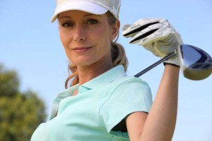 Female golf player exercising