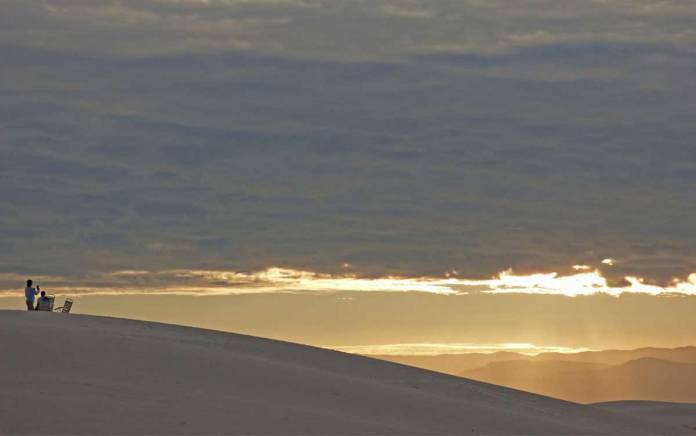 Watching the sun come up at White Sands