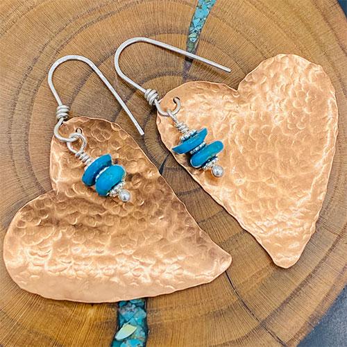 copper heart turquoise earrings