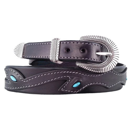 Black tapered leather belt with turquoise inlay