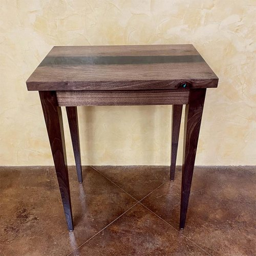 Walnut Table with Resin