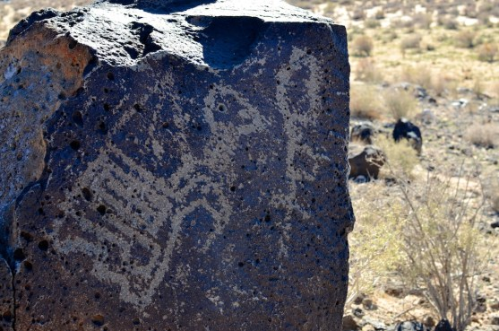 The 700 or so year-old glyphs mark the rocks at Boca Negra Canyon, Petroglyph National Monument.