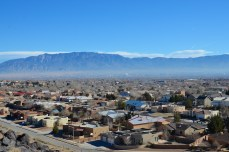 The Sandia Mountains across Albuquerque's north side from Petroglyph National Monument.