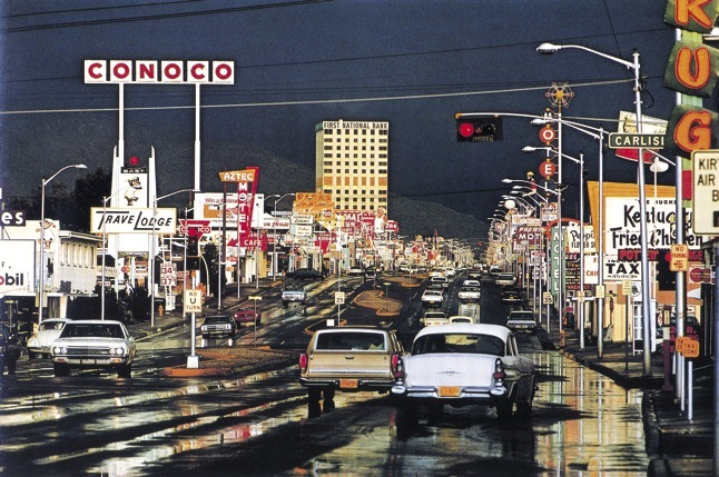 "Ernst Haas's photograph ""Route 66, Albuquerque, New Mexico 1969.""   That's Central, looking east from near Carlisle."