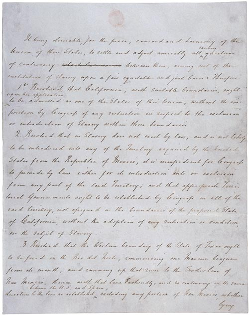 First page of Henry Clay's resolutions