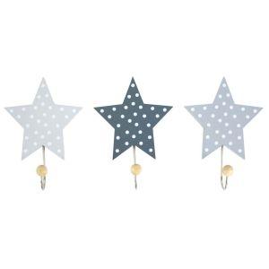 Jabadabado Ξύλινες κρεμάστρες Αστέρια Γκρί (3τμχ)