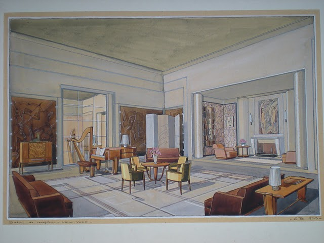 interior design presentation   NEW MOON ARTS GALLERY PLAZA HOTEL  NYC  sitting room  interior design presentation drawing  by  Ernest Bonnamy