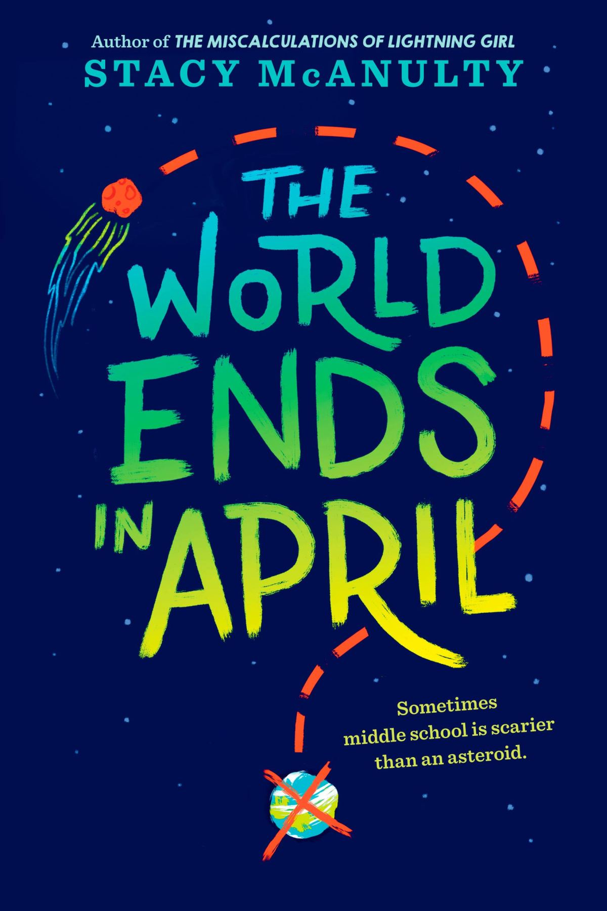 Book cover image for the World Ends in April by Stacy McAnulty