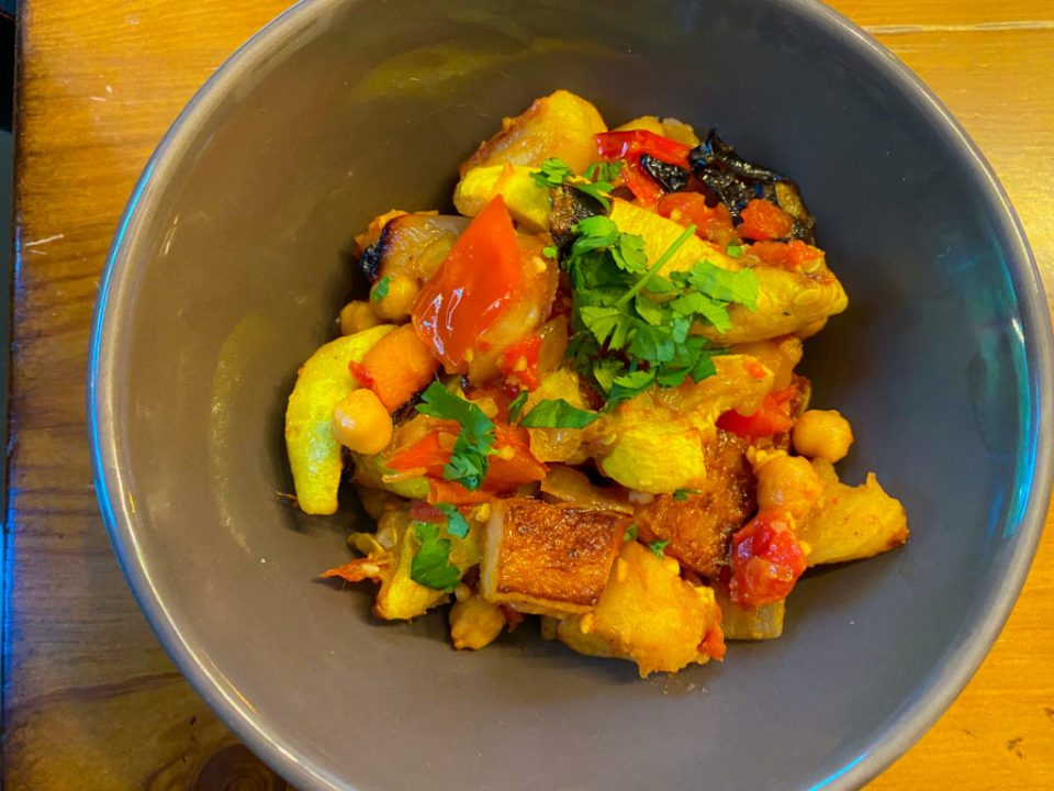 Roasted vegetable and chickpea stew