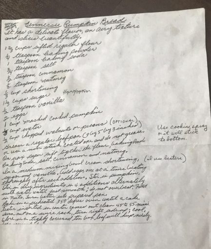 Handwritten recipe for pumpkin bread