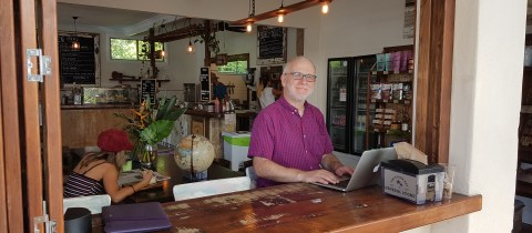 Ray Poynter working in Cafe