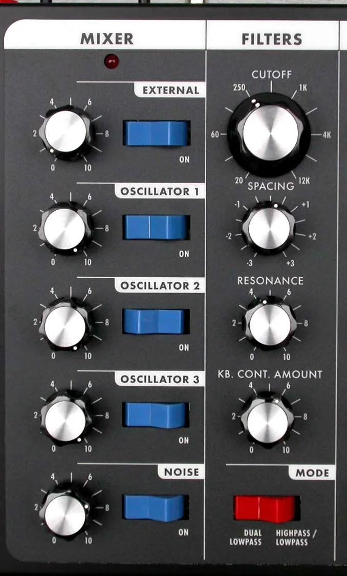 Moog Voyager - Il mixer e la sezione filtri