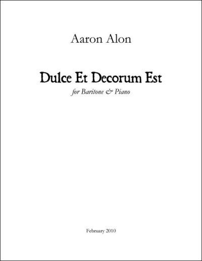 Alon Dulce et Decorum Piano