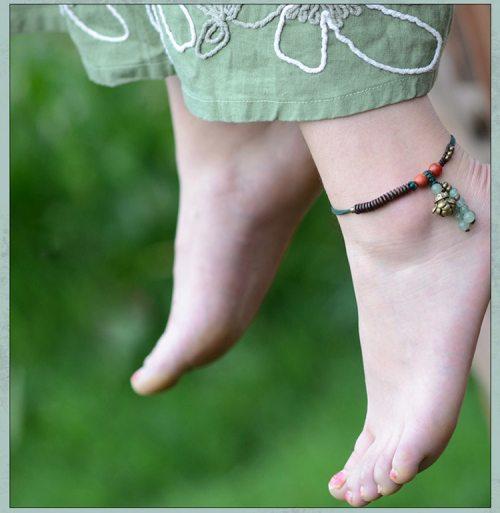 chevillière, bracelet de cheville aventurine, bois et cuivre