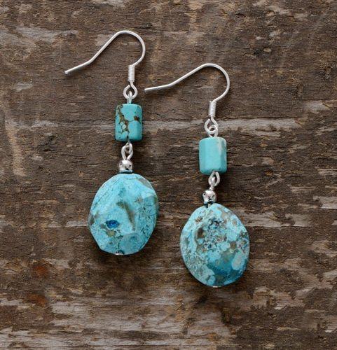 boucle d'oreille argent 925 et turquoise
