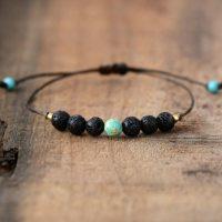Bracelet en pierre de lave et Turquoise