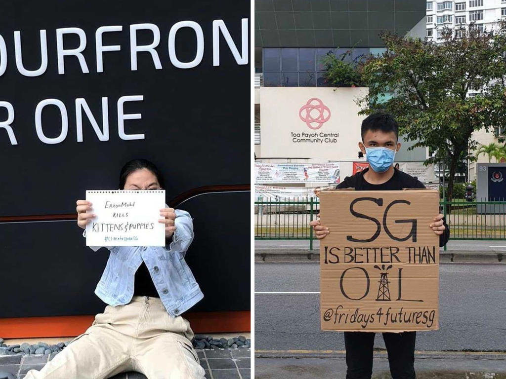 Singapore's First Two Climate Strikers, J-Min and Minh, protesting in front of ExxonMobil and Toa Payoh Community Club, respectively