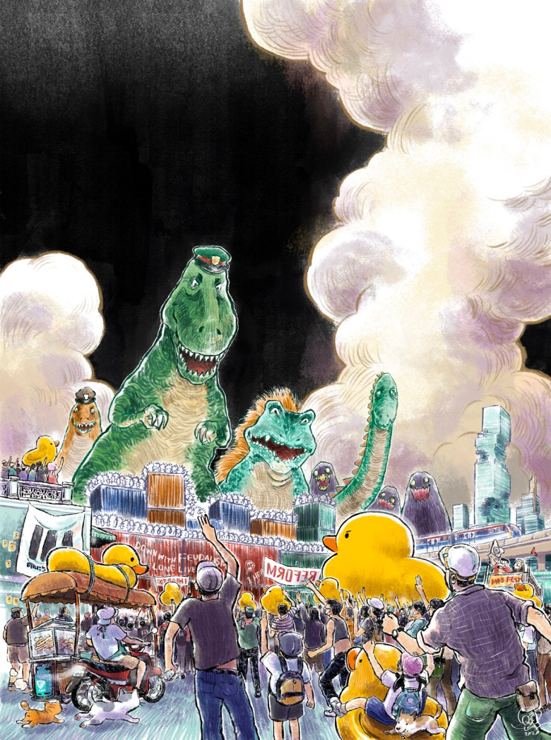 A crowd of protestors gathers outdoors, bearing giant yellow ducks. They raise three-fingered salutes against the towering dinosaurs that threaten to rampage their city.