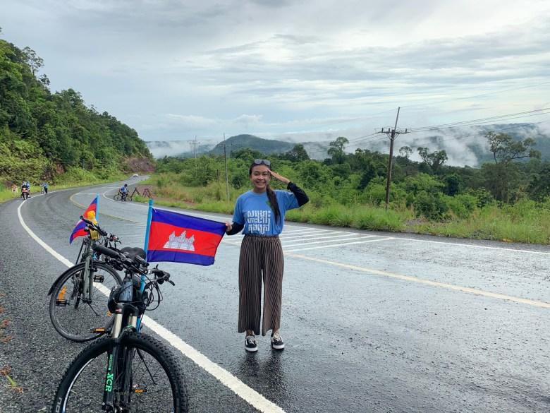 Environmental activist Phoun Keoreaksmey, during a cycling campaign in 2020.