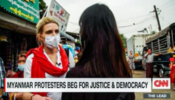 A screenshot of a CNN video report with journalist Clarissa Ward interviewing a Myanmar person.