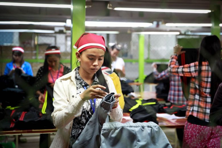 A worker at a garment factory in Cambodia in 2014.