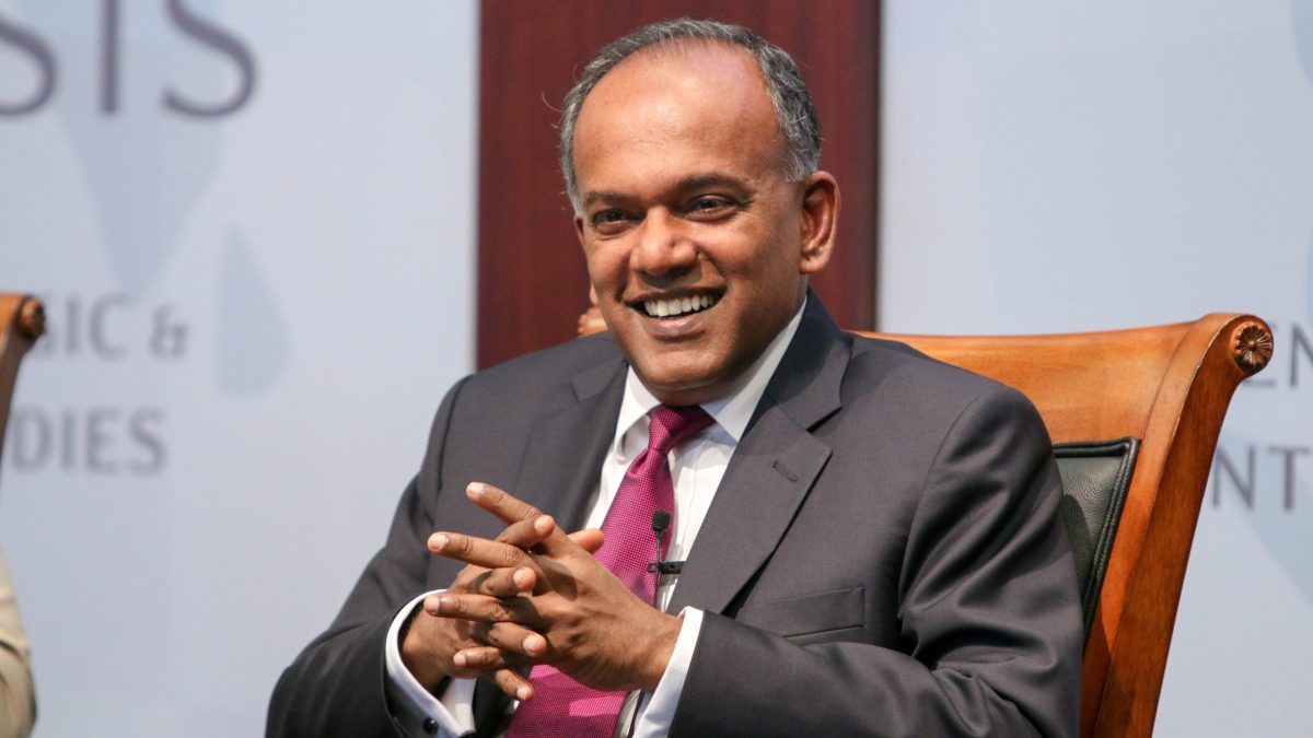 K Shanmugam, then Singapore's minister for foreign affairs and minister for law, addresses the CSIS Banyan Tree Leadership Forum in June 2015.