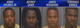 Jerry Holmes Jr., 31, Jeffrey Grier, 20, and Jared Woodard, 19, are facing weapons charges. Police identified Holmes as the gunman. Terrance Kirnes, 20, was charged with resisting an officer without violence.