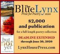2020 Blue Lynx Prize for Poetry banner for extension