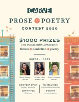 Flier for Carve Magazine's Prose & Poetry Contest 2020