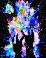 shadowy hands in front of a burst of colors