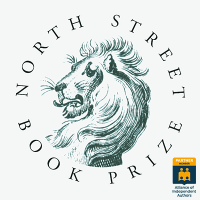 sketched lion head surrounded by text reading North Street Book Prize