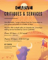 Screenshot of Carve Critiques & Services May 2021 NewPages eLitPak Flier