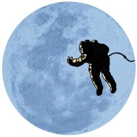 astronaut in front of a full moon