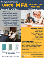 Screenshot of UNCG MFA's flier for the NewPages August 2021 eLitPak