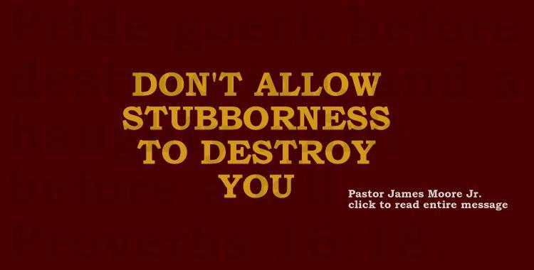 DON'T ALLOW STUBBORNESS TO DESTROY YOU