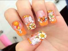 orange-floral-decoration-for-summer-nail-colors