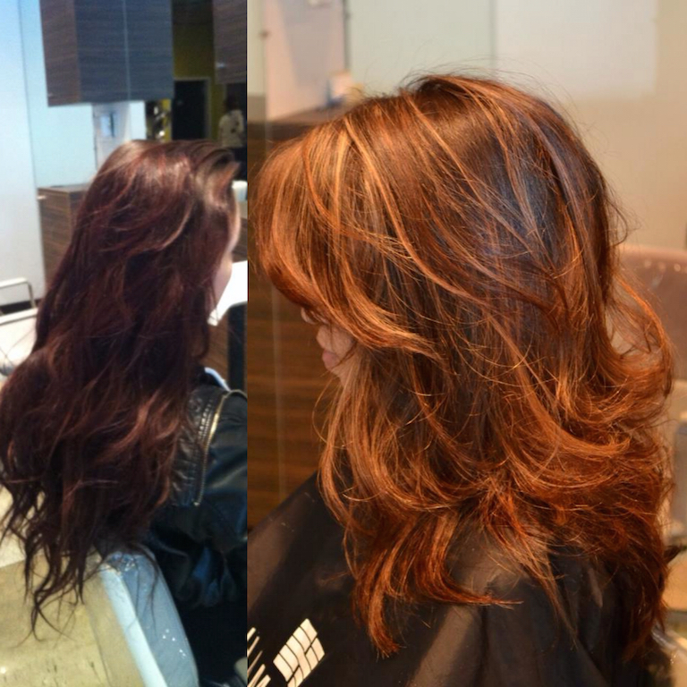 Redlands Hair Stylist Long Ash Brown Hair To Auburn And Blonde