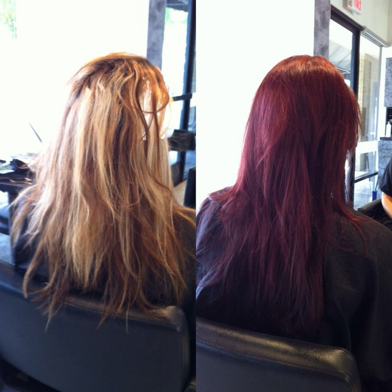 Newport Beach Hair Stylist Color Correction Blonde Highlights To Magenta Balayage By Emily Cain