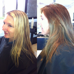Newport Beach Hair Stylist Style Change bright blonde foil highlights to light brown painted Balayage Highlights by Emily Cain
