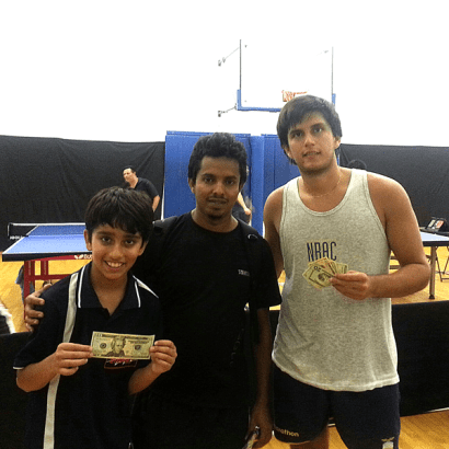 Shivam Kumar, Rodrigo Tapia after playing in Newport Beach Table Tennis Club