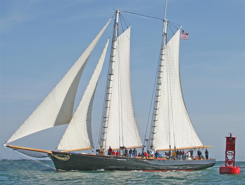 Sailing past Newport Bell Buoy