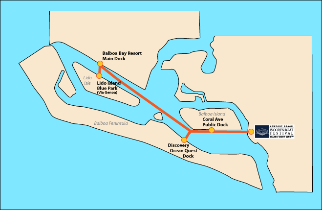 Newport Harbor Water Taxi Route